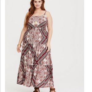 Torrid Red Scarf Print Challis Maxi Dress 0X